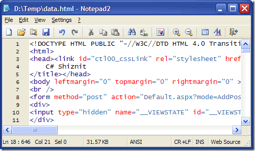 Notepad2 - free text editor - notepad alternative