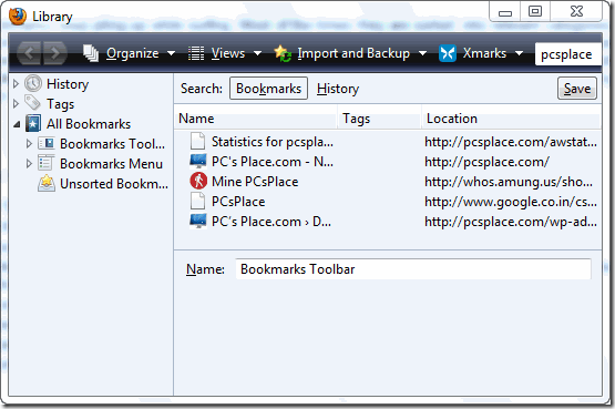 update firefox bookmarks