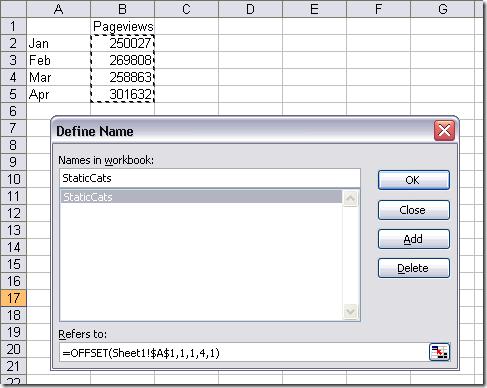 Assign name to excel formulas