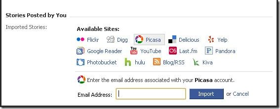 Import feeds and links from other sources into Facebook