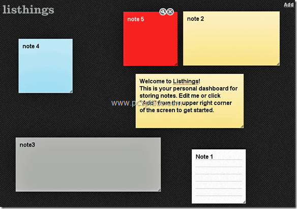 Listhings - online dashboard to easily create and edit personal notes