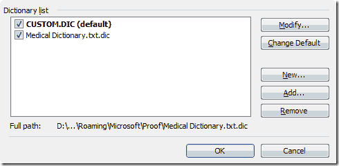 activate custom dictionary