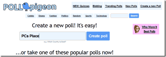 create polls online - poll pigeon