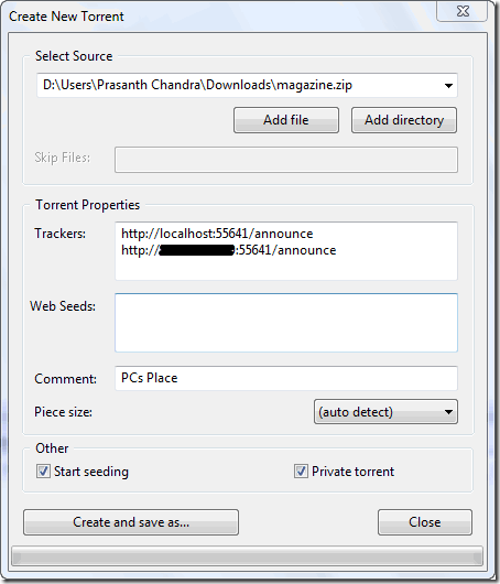 create new torrent