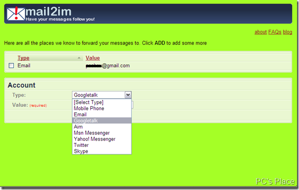 mail2im forward mails to IM,twitter,mobile phone etc