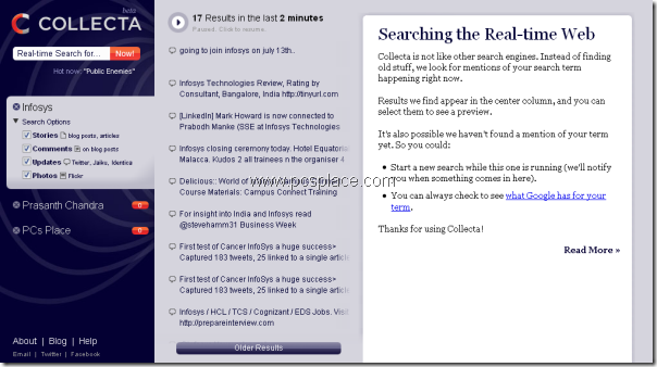 collecta - real time search engine for news and pictures