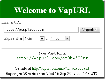 vapurl - create disposabile links