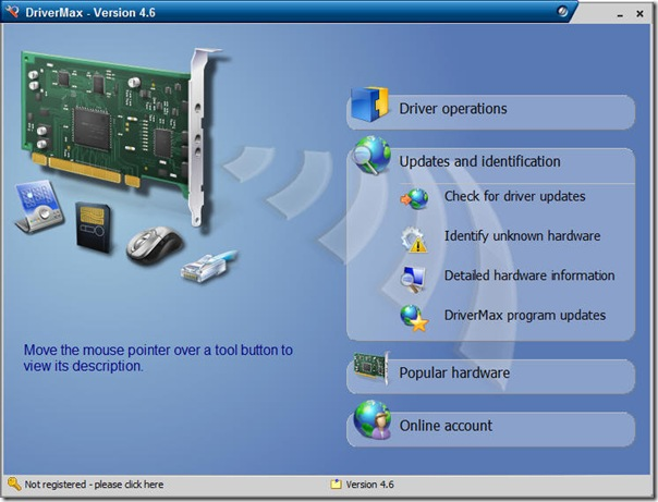 drivermax driver management interface