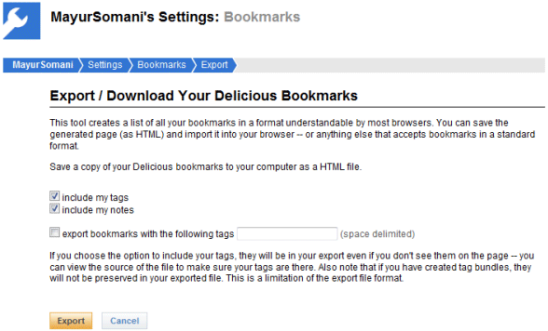 export-delicious-bookmarks