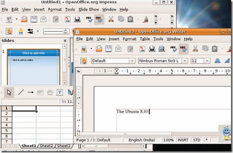 open , edit docs in linux using open office, impress, calc
