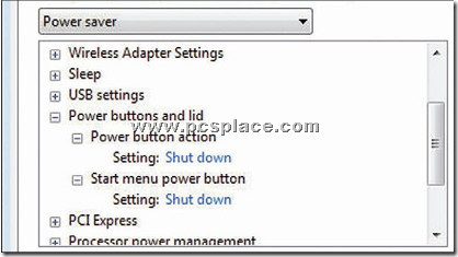 Power options dialog box