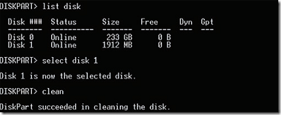 list the  different disks, select and execute commands