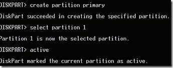 create primary partition and make it active
