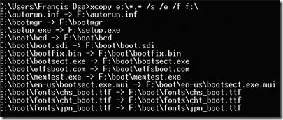 use xcopy to copy vista  files to flash drive
