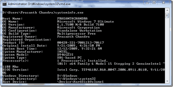system information in text file