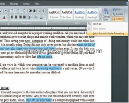 change similarly formatted text in word 2007