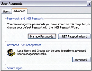 manage saved MSN passwords