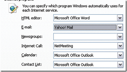 make yahoo mail default email service