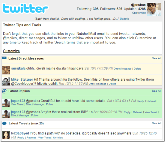 NutShellMail – Access your Email & Social Networking Accounts [ Twitter, Facebook, MySpace ] from Inbox