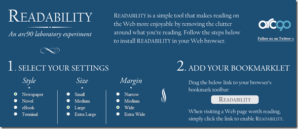 readability - transform web pages into an easy to read format