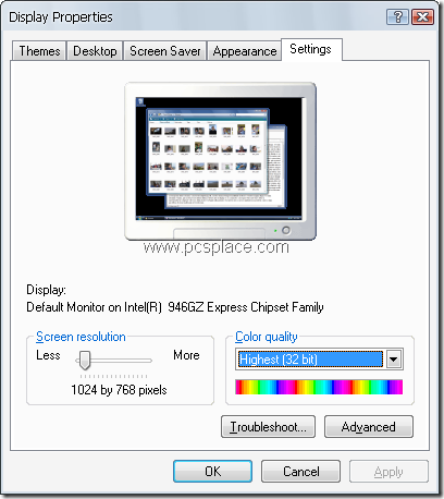 display settings - screen resolution