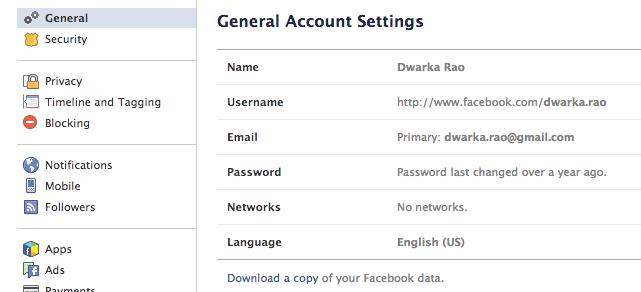 backup facebook data