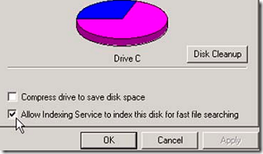 Turn Off hard drive indexing