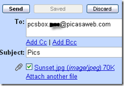 picasa web album mail