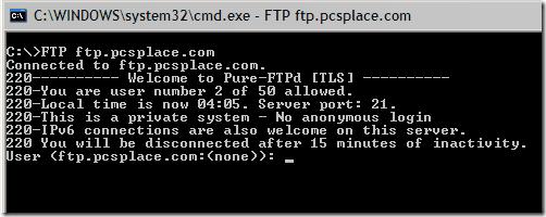 ftp command line login