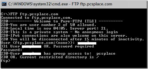 ftp command line password