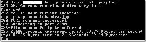 ftp command line upload file