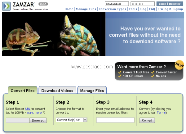 zamzar- free online file convertor