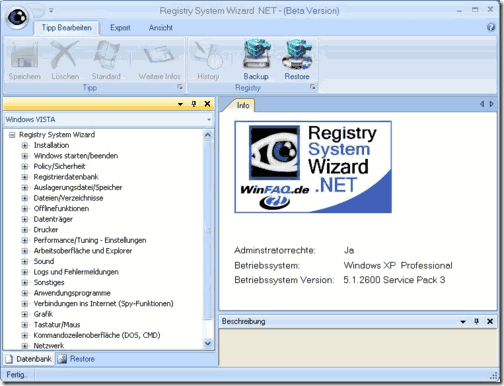 registry system wizard