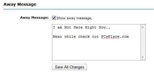 MySpace away message