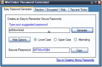 WinTinker Password Generator - Create Strong Passwords Easy To Remember
