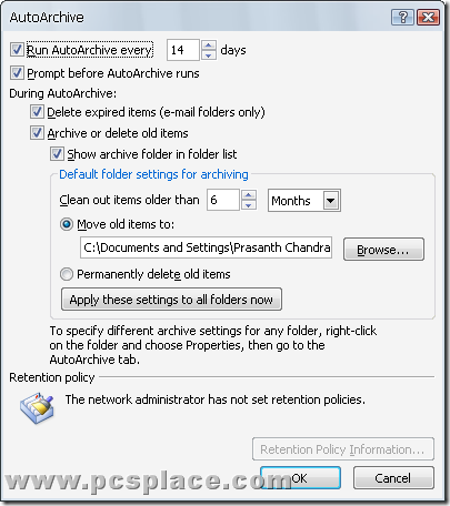 auto archive mails in MS-outlook