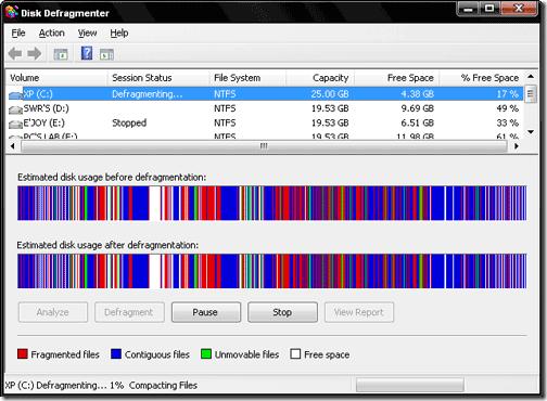 Disk defragmenter tool